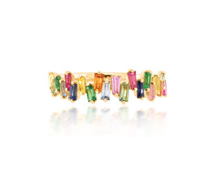 Trabert Goldsmiths Freeform Baguette Rainbow Sapphire Ring E1925