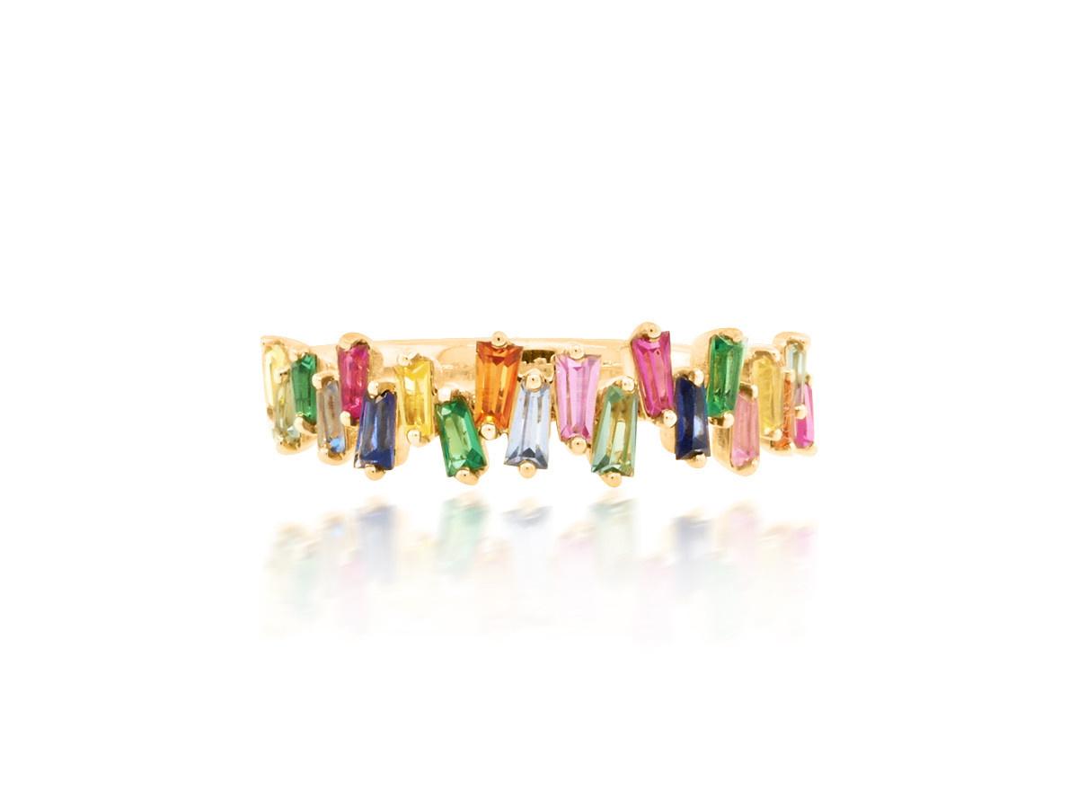 Trabert Goldsmiths Freeform Baguette Rainbow Sapphire Ring