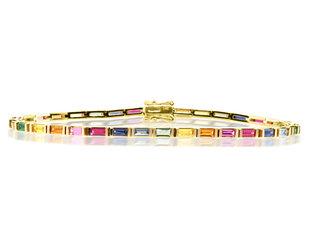 Trabert Goldsmiths Rainbow Sapphire Baguette Bracelet E2038