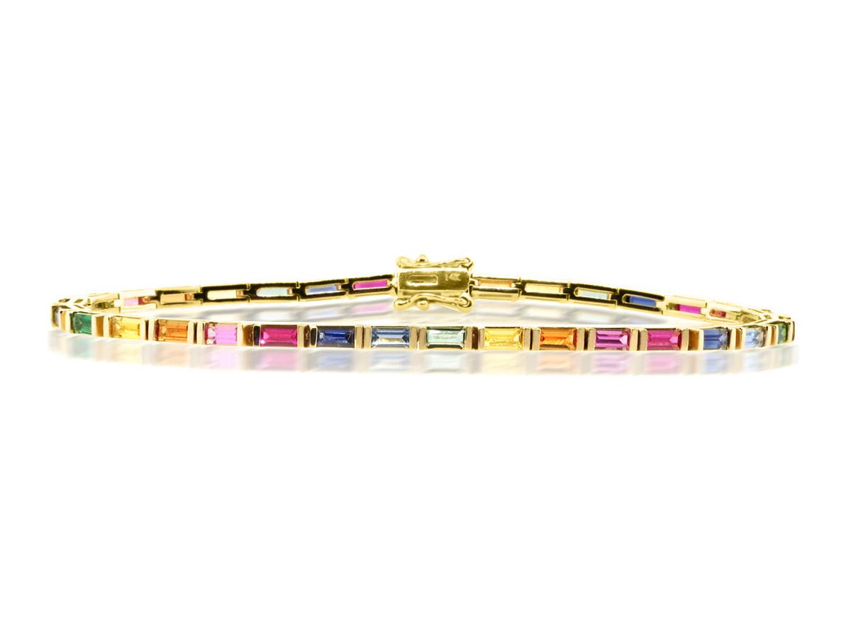 Rainbow Sapphire Baguette Bracelet