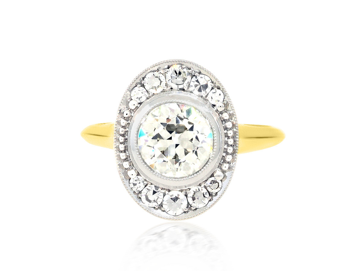 Trabert Goldsmiths 1.36ct KVS2 Old Euro Diamond Ollusion Ring