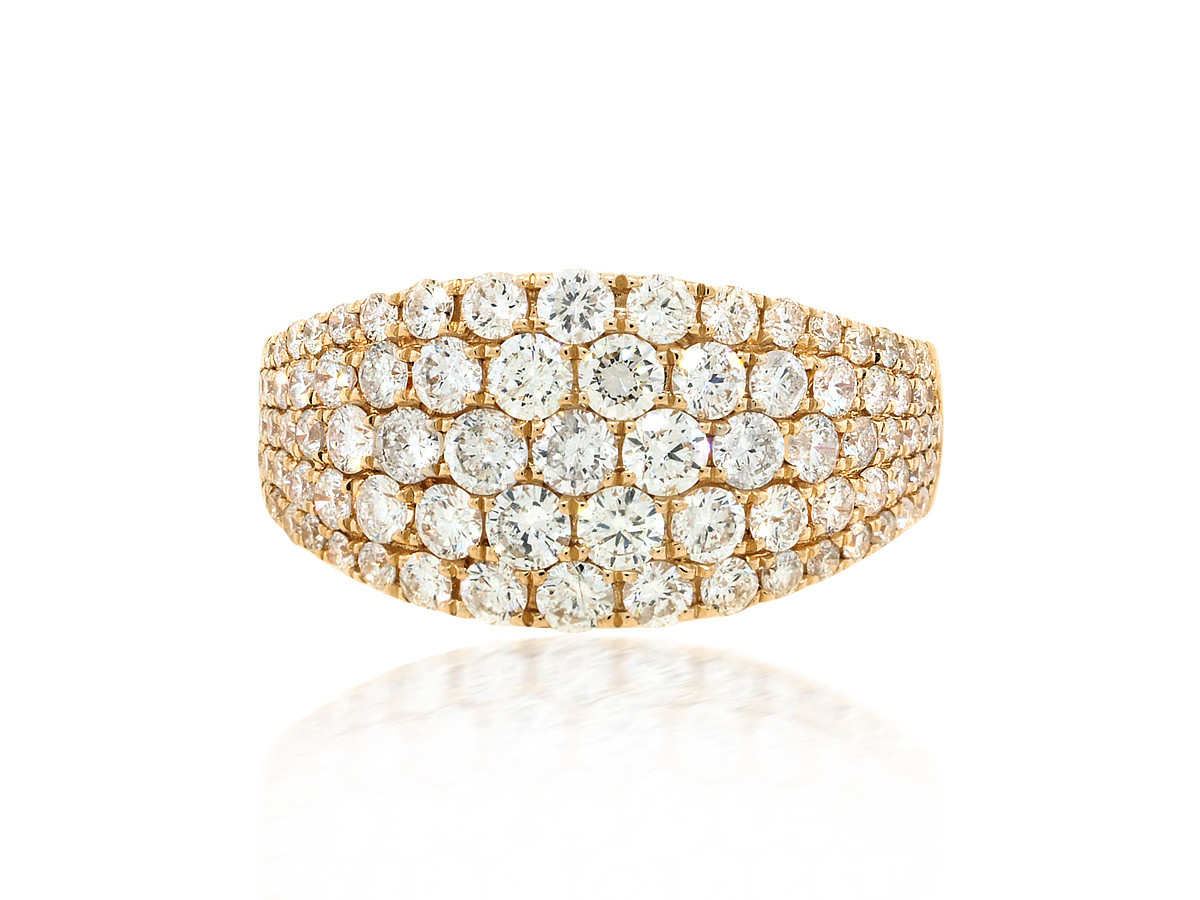 Trabert Goldsmiths Pave Diamond Gold Dome Ring