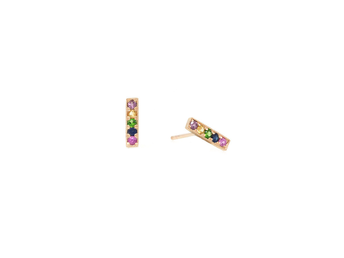 MeiraT Designs Rainbow Sapphire Bar Rose Gold Earrings