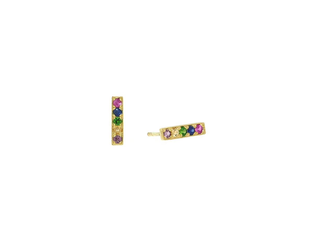 MeiraT Designs Rainbow Sapphire Bar Yellow Gold Earrings