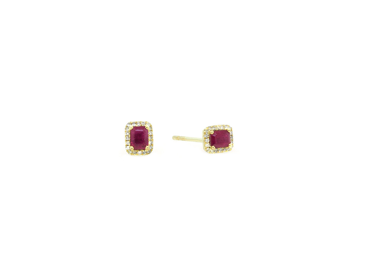 MeiraT Designs Ruby And Diamond Yellow Gold Earrings