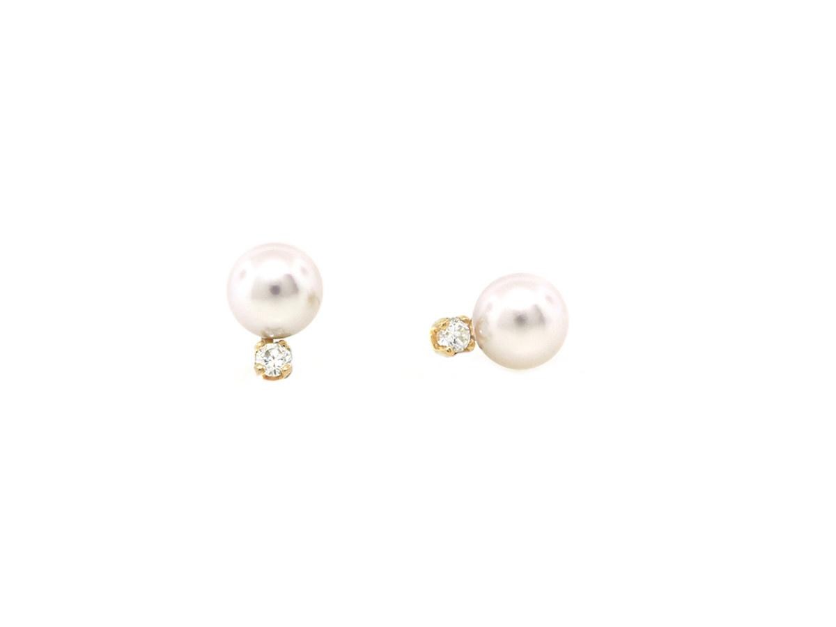Trabert Goldsmiths Freshwater Pearl And Diamond Earrings