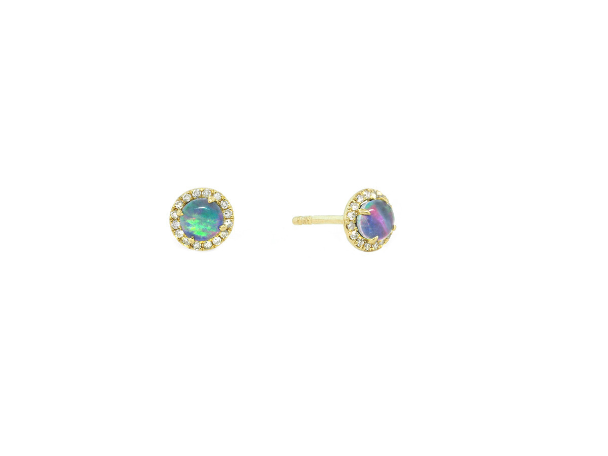 MeiraT Designs Opal And Diamond Yellow Gold Earrings