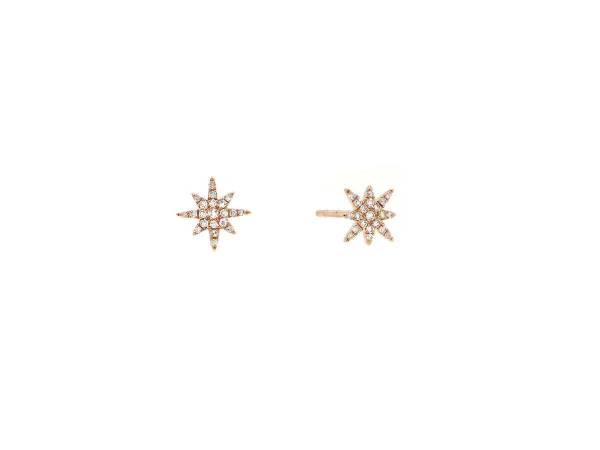 MeiraT Designs Mini Diamond Starburst Rose Gold Earrings