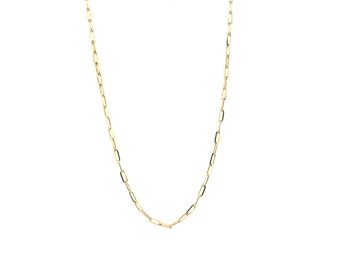 Trabert Goldsmiths Yellow Gold Small Oval Link Necklace