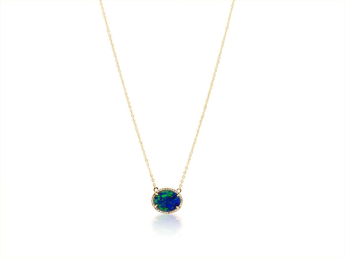 Trabert Goldsmiths Blue Green Opal Halo Necklace