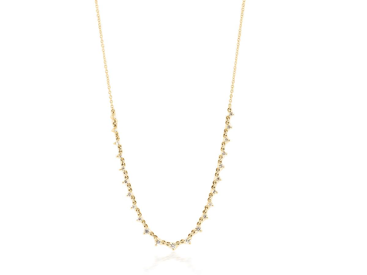 Diamond Half Link Gold Necklace