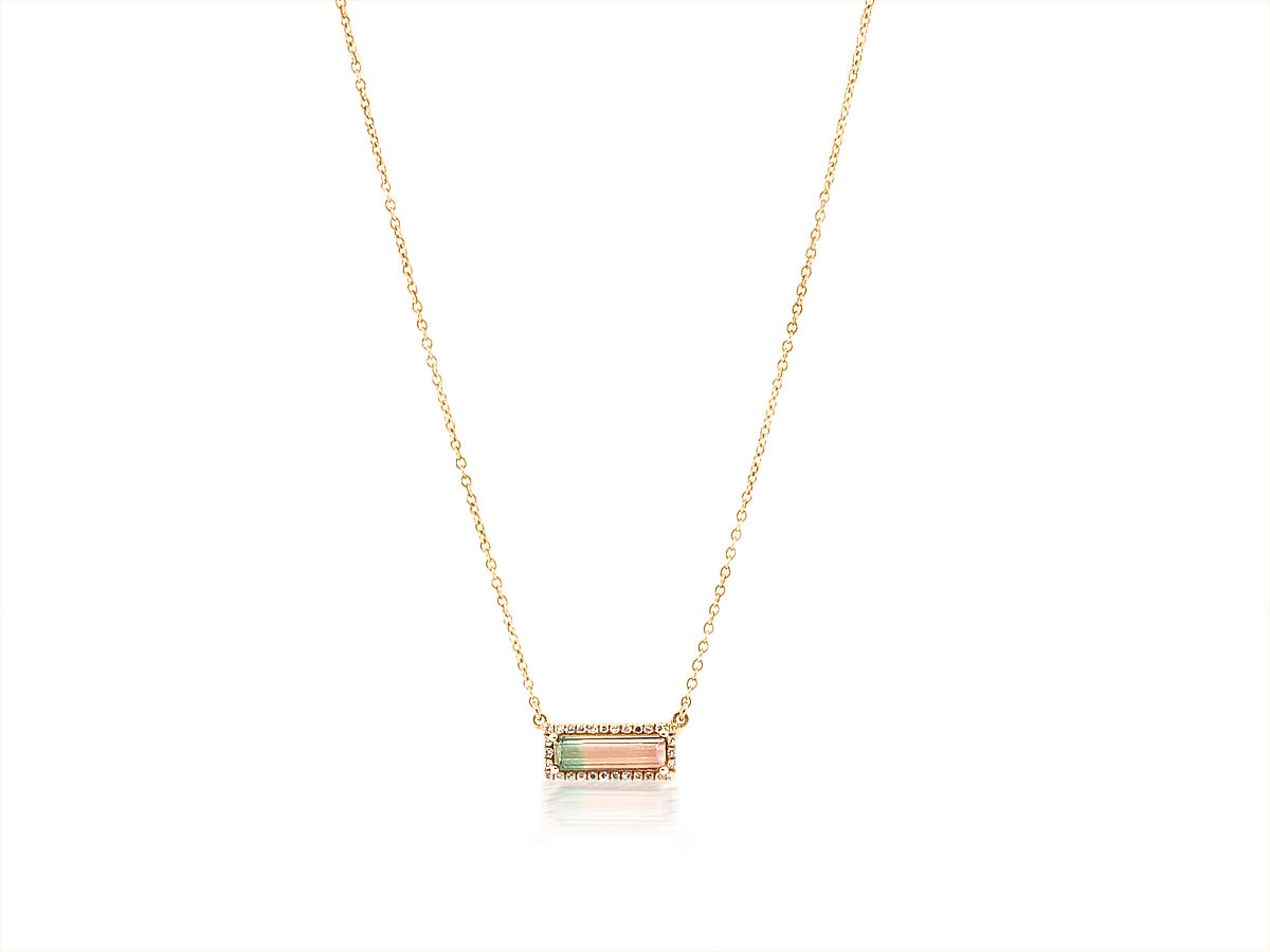Trabert Goldsmiths Bi-Color Tourmaline Diamond Necklace