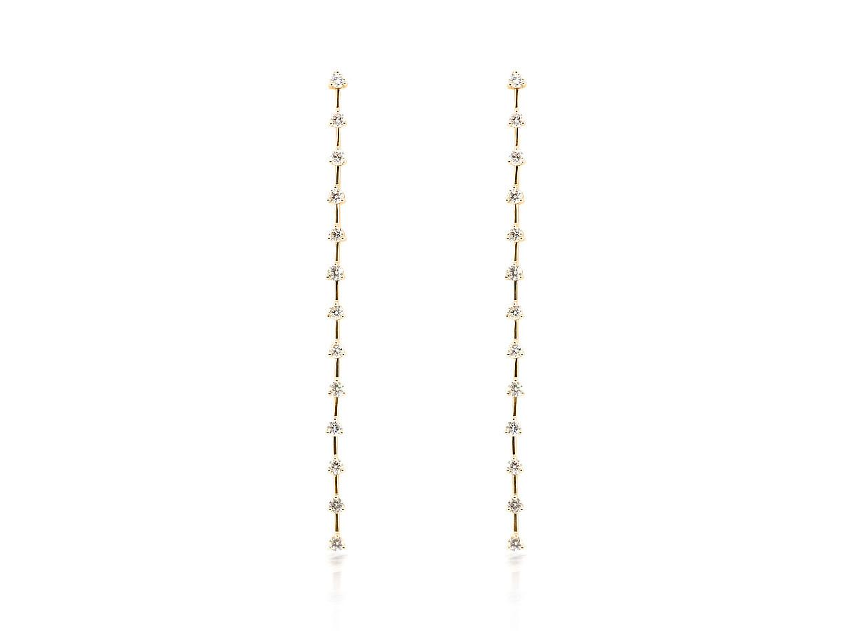 Trabert Goldsmiths Long Pave Diamond Stick Earrings