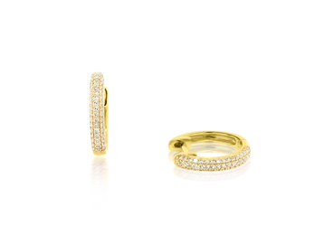 Trabert Goldsmiths Pave Diamond Gold Huggie Earrings E1947
