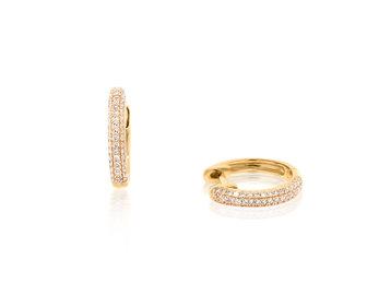Trabert Goldsmiths Pave Diamond Rose Gold Huggie Earrings E1948