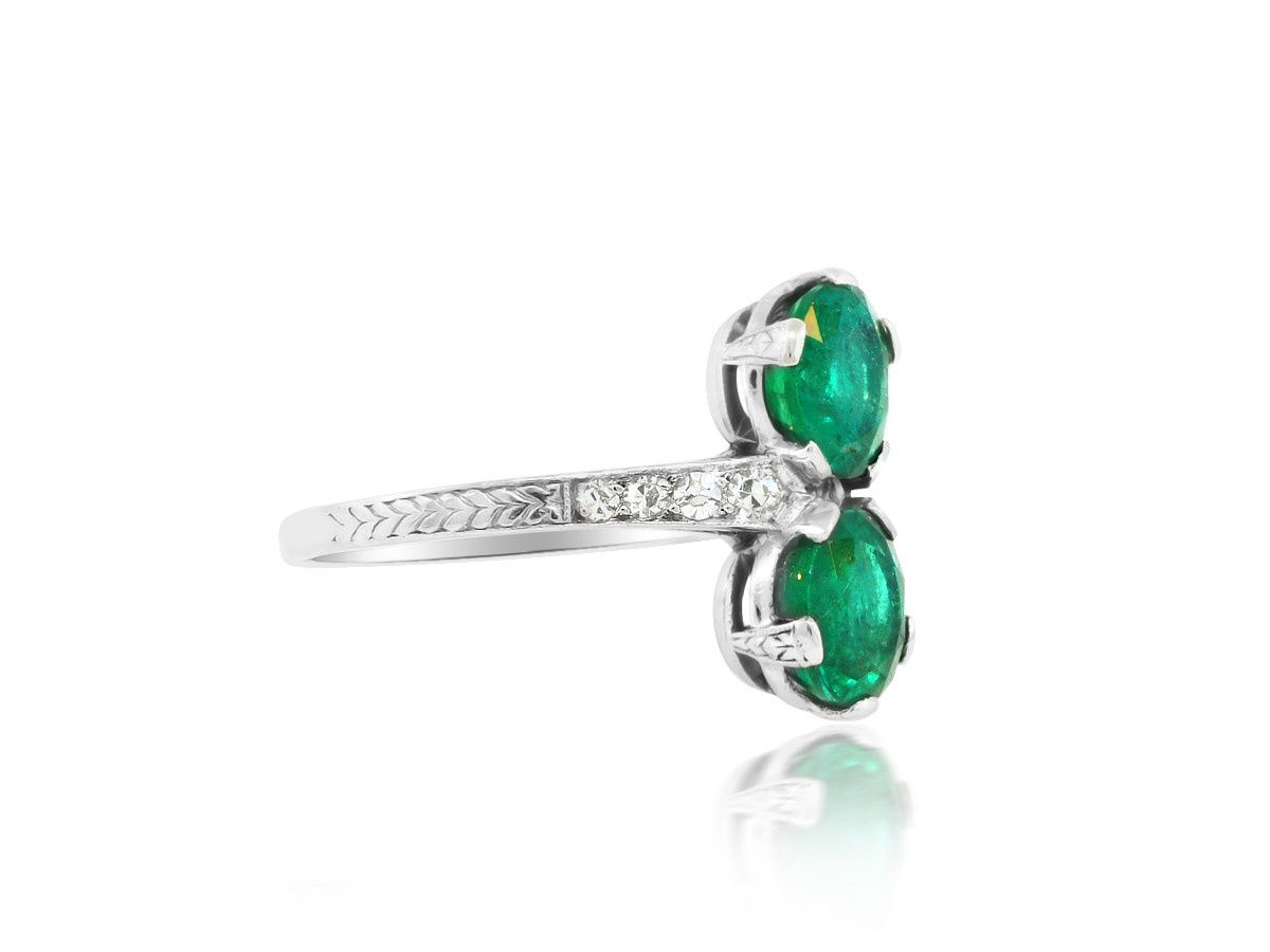 Trabert Goldsmiths Antique Double Linear Emerald Antique Ring