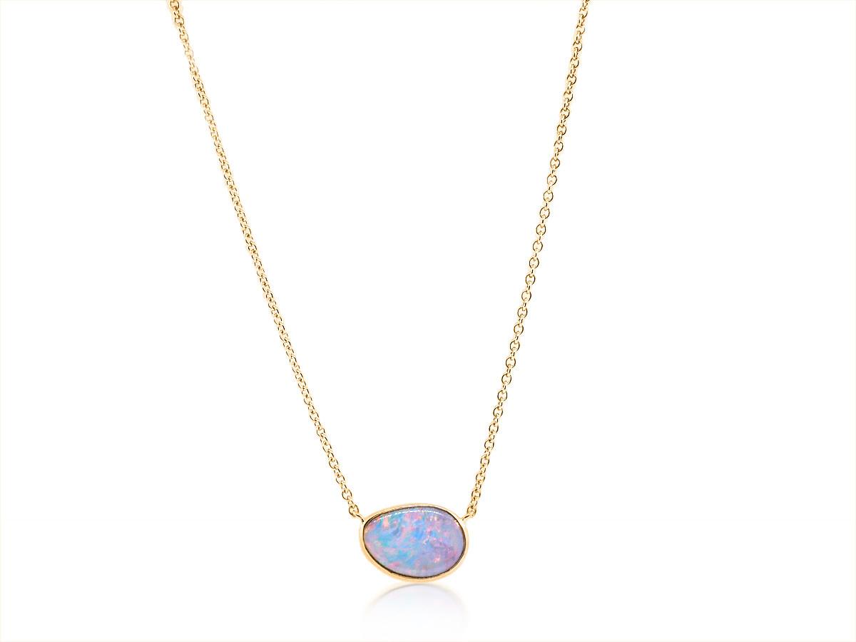 Trabert Goldsmiths Asymmetrical Opal Rose Gold Pendant