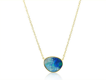 Trabert Goldsmiths Asymmetrical Opal Yellow Gold Pendant E1962