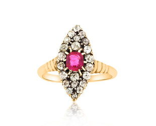 Ruby & Diamond Antique Navette Ring E1965