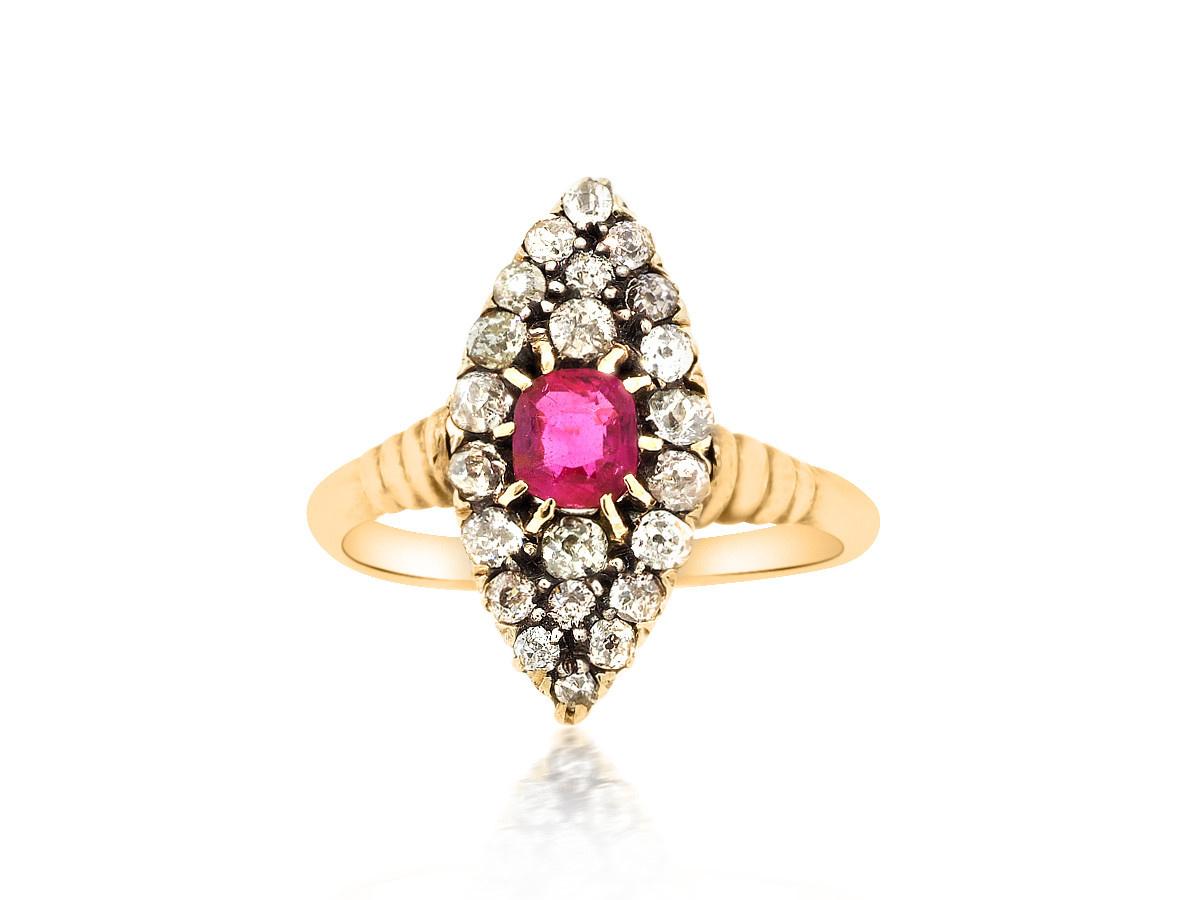 Trabert Goldsmiths Antique Ruby and Diamond NavetteRing