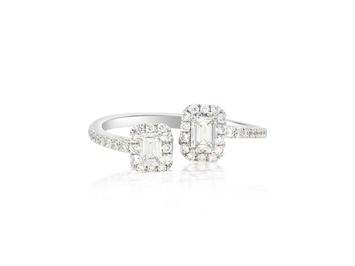 Trabert Goldsmiths Double Emerald Halo Diamond Ring