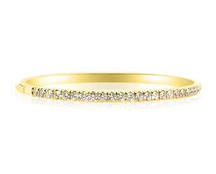 Trabert Goldsmiths Hinged Gold Diamond Bangle Bracelet E1974