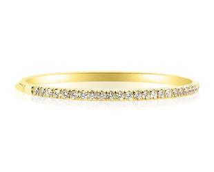 Trabert Goldsmiths Hinged Gold Diamond Bangle Bracelet E1974