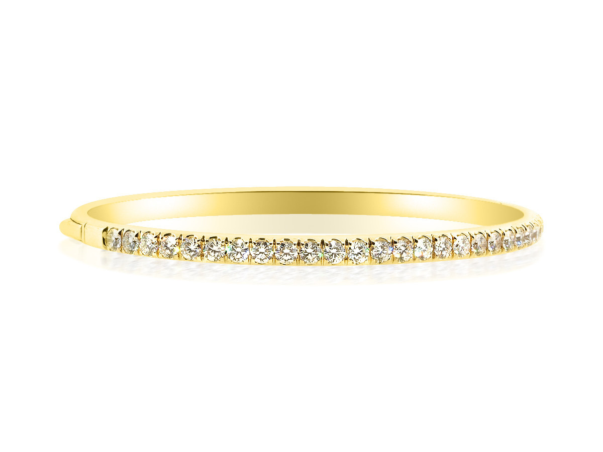 Trabert Goldsmiths Hinged Gold Diamond Bangle Bracelet