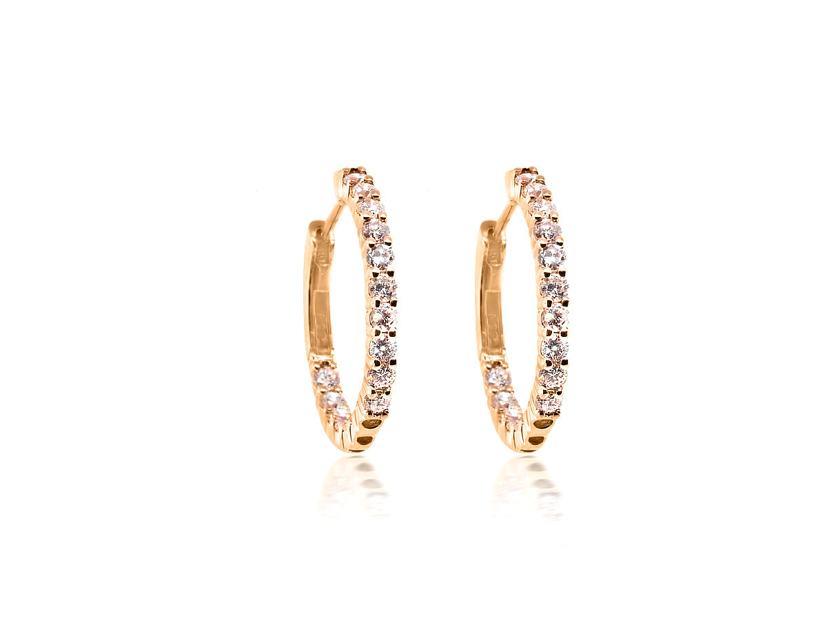 Trabert Goldsmiths Rose Gold Diamond Pronged Hoop Earrings