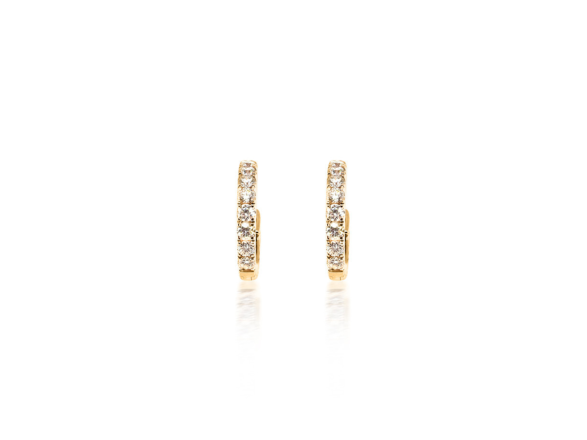 Small Diamond Shared Prong Hoop Earrings
