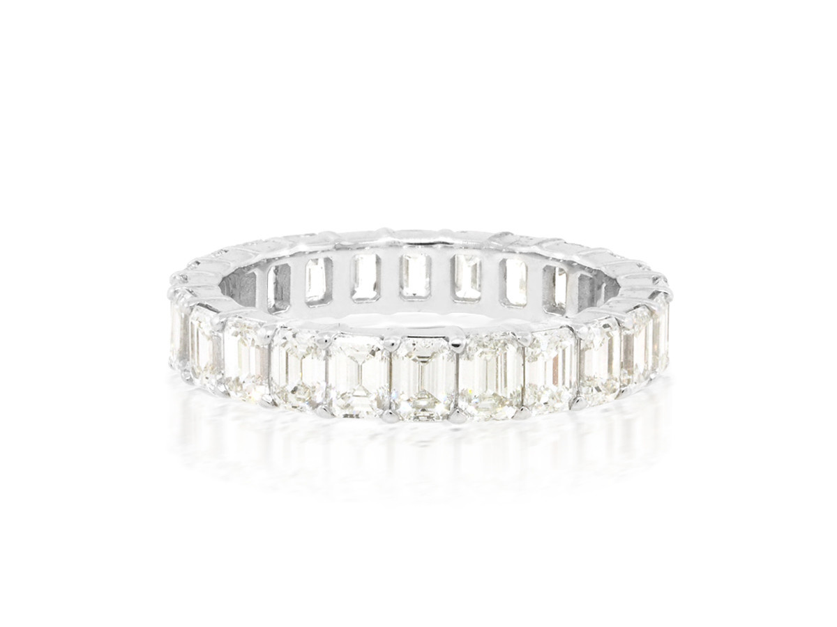 Trabert Goldsmiths 3.49cts Emerald Cut Diamond Eternity Ring