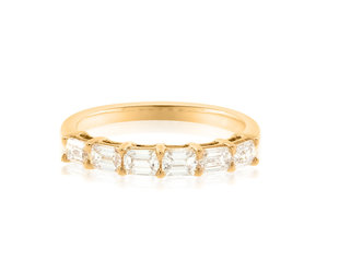 Trabert Goldsmiths Baguette Diamond Half Rose Gold Ring E1987
