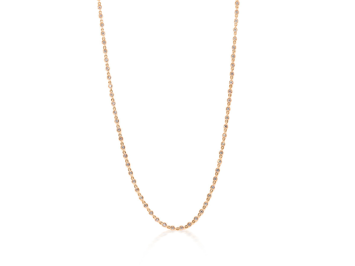 Trabert Goldsmiths 0.84ct Baby Bezel Dia Rose Gold Necklace