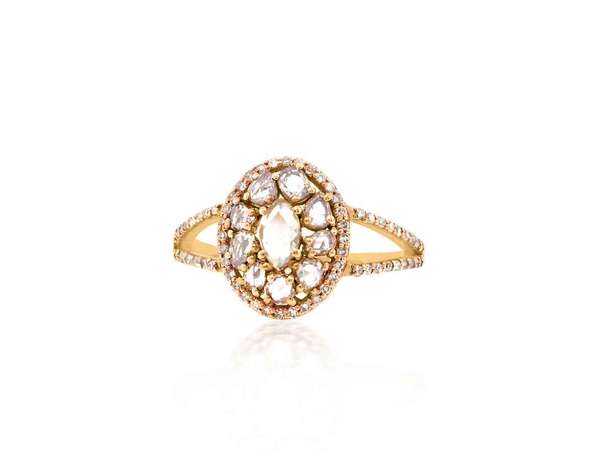Trabert Goldsmiths Rose Cut Diamond Rose Gold Ring