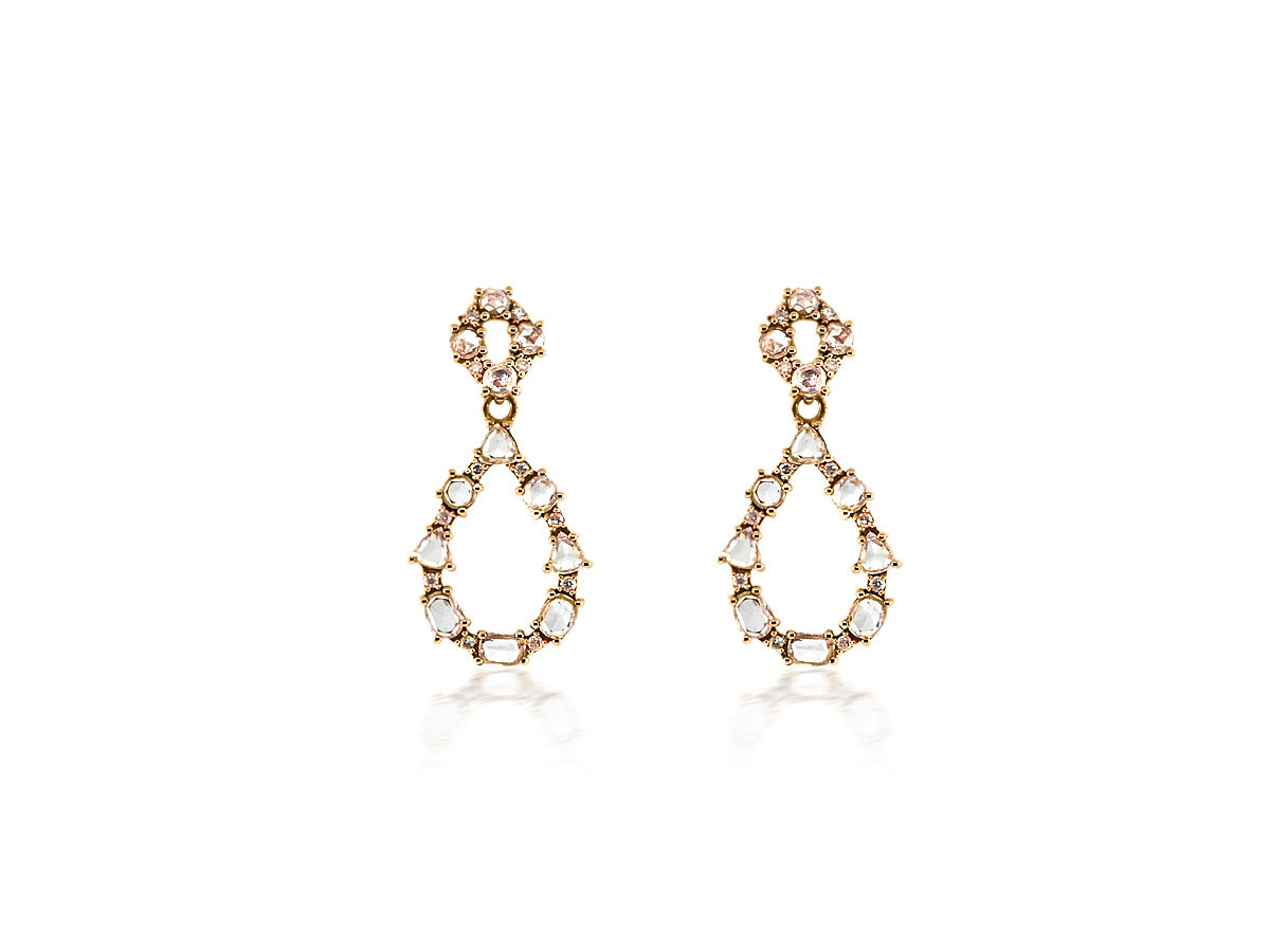 Trabert Goldsmiths Rose Cut Diamond Drop Earrings