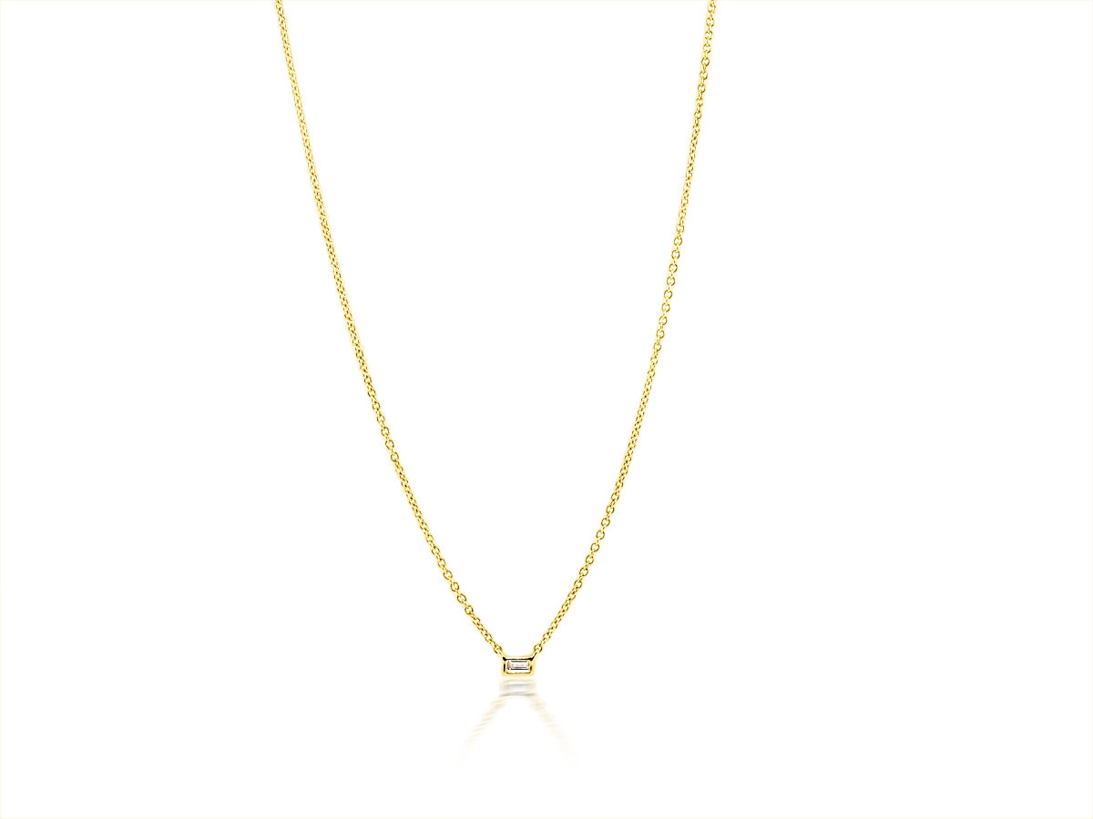 Trabert Goldsmiths Single Baguette Diamond Pendant