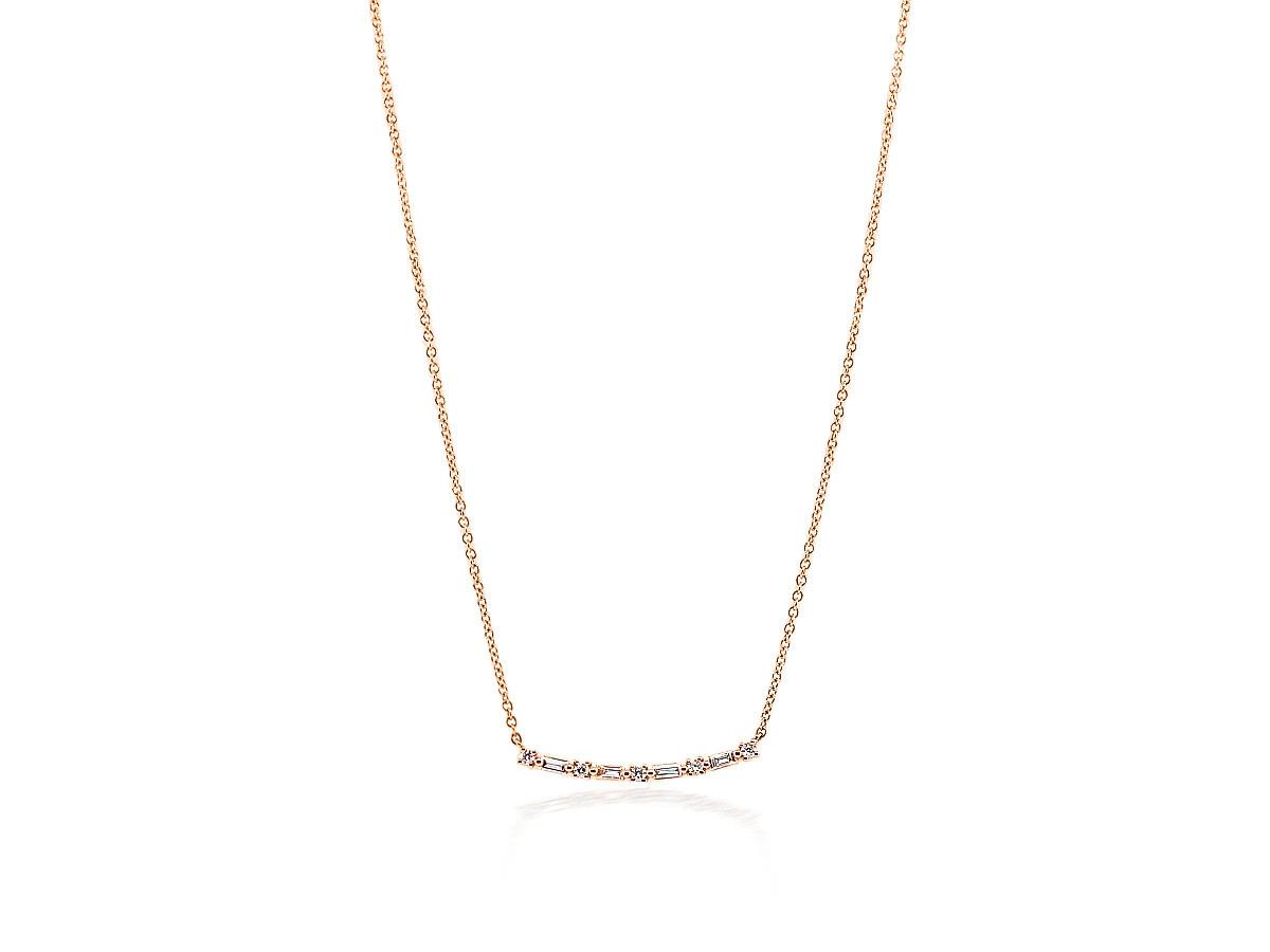 Baguette Diamond Bar Rose Gold Pendant