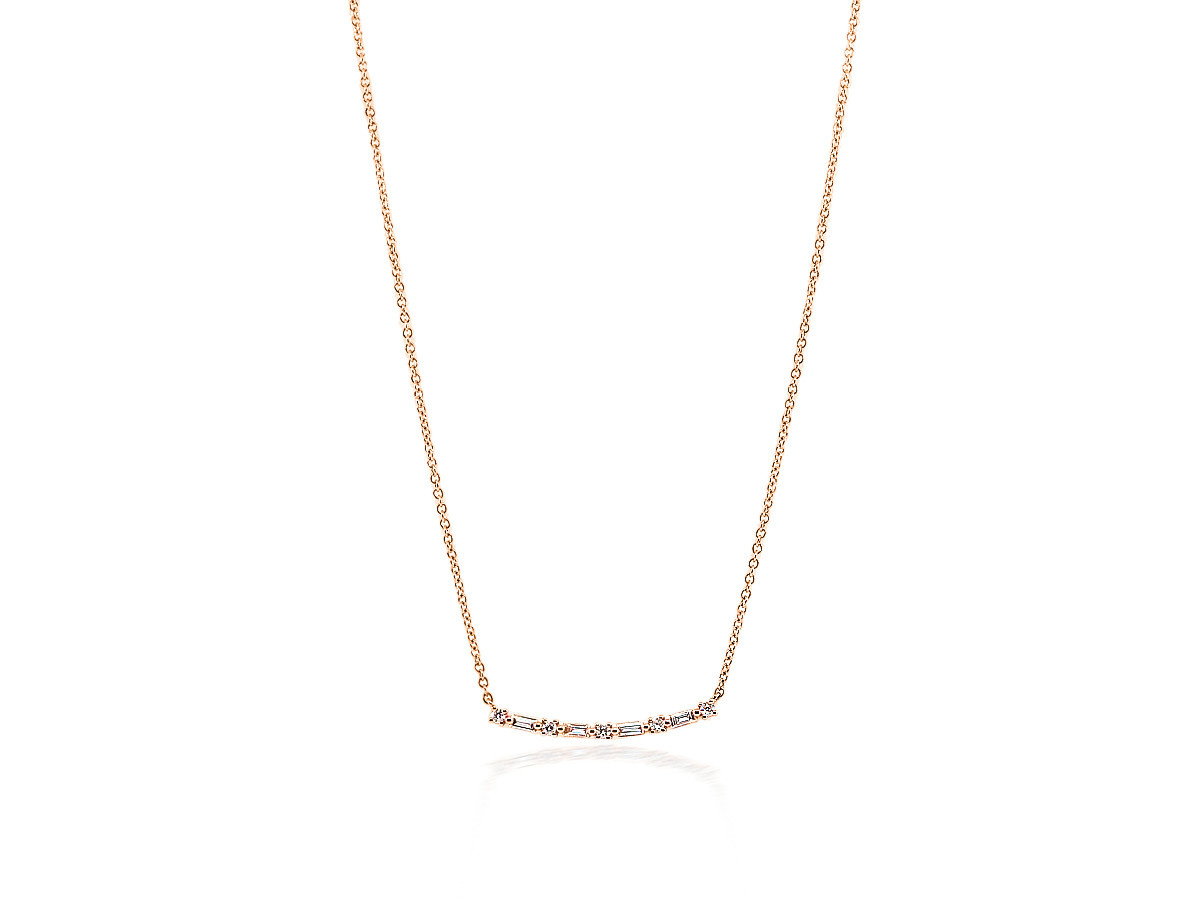 Trabert Goldsmiths Baguette Diamond Bar Rose Gold Pendant