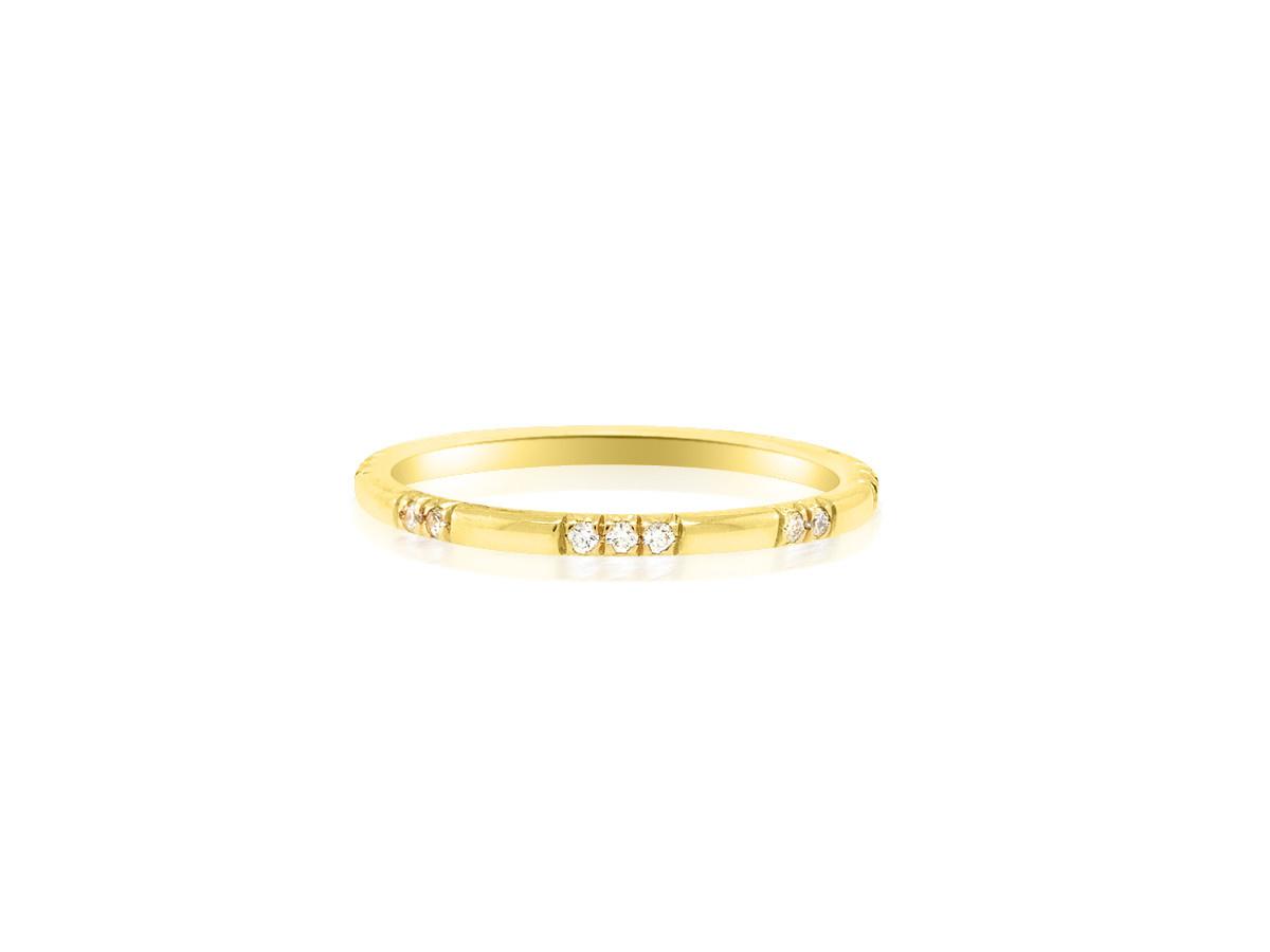 Trabert Goldsmiths 2X3 Scattered Diamond Yellow Gold Band