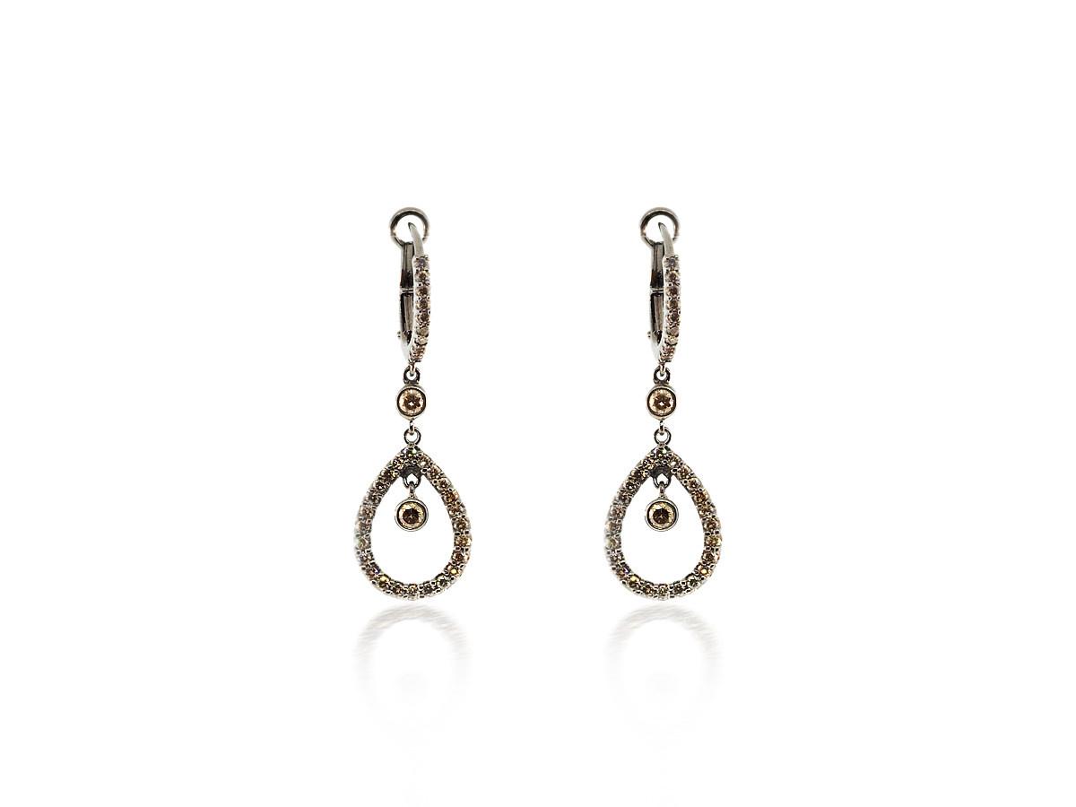 Champagne Diamond Pear Drop Earrings