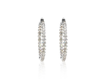 Trabert Goldsmiths 3.18cts Diamond Hoop Earrings E2014