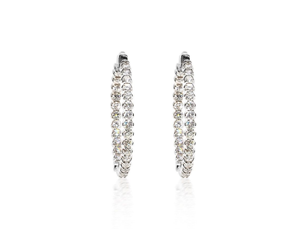 Trabert Goldsmiths 3.18cts Diamond Hoop Earrings E2014