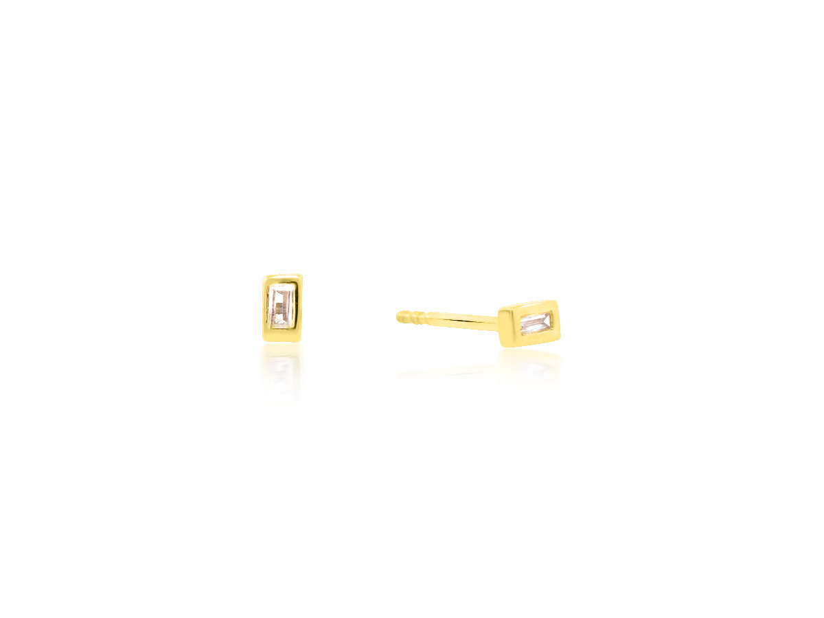 Trabert Goldsmiths Diamond Baguette Yellow Gold Earrings