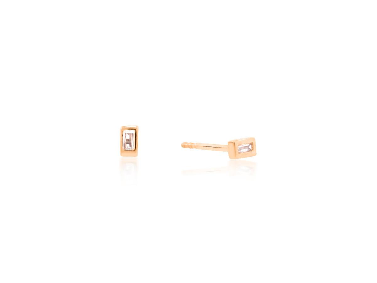Trabert Goldsmiths Diamond Baguette Rose Gold Earrings