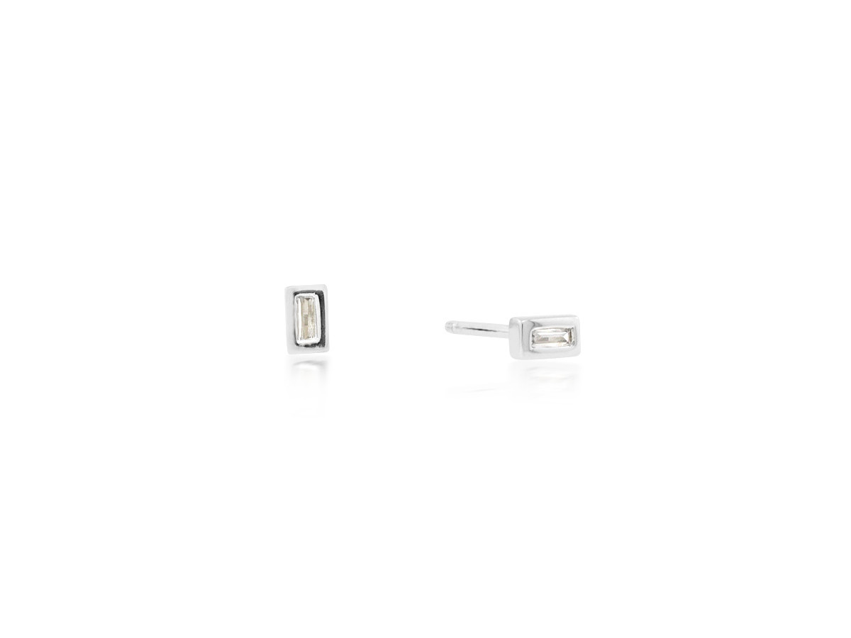 Trabert Goldsmiths Diamond Baguette White Gold Earrings