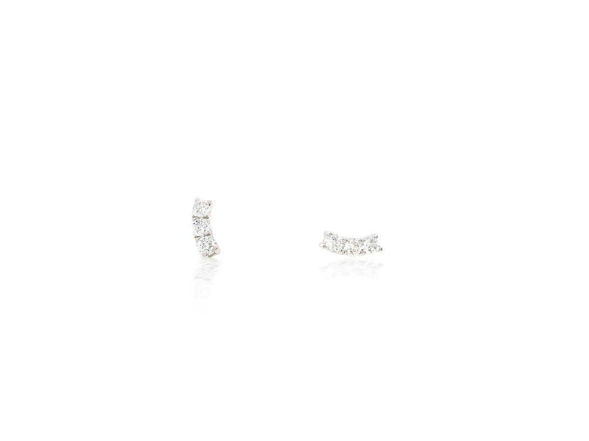 Trabert Goldsmiths Diamond Curve White Gold Earrings