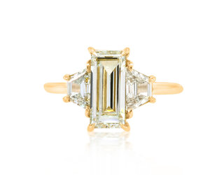 Trabert Goldsmiths 1.56ct OP/SI Emerald Cut Dia Trinity Ring E2033
