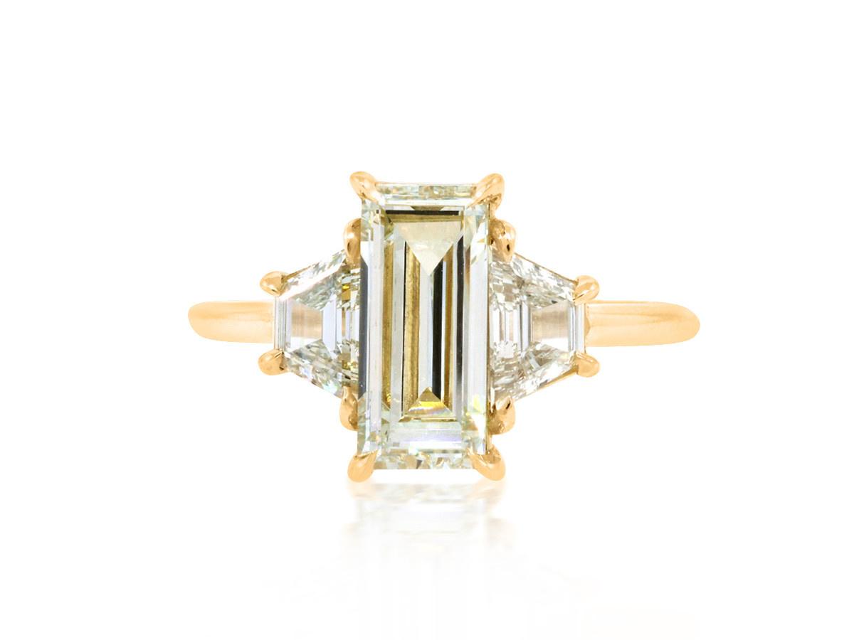 Trabert Goldsmiths 1.56ct OP/SI Emerald Cut Diamond Trinity Ring