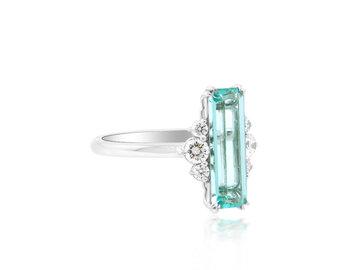 Trabert Goldsmiths 1.78ct Emerald Cut Paraiba Aquamarine Ring E2034