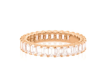 Gamma Creations Rose Gold Emerald Cut Dia Eternity Band GAM22